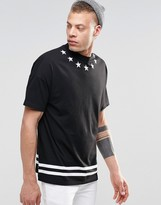 Asos Oversized T-Shirt With Hem Stripe And Star Neck Print