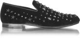 Jimmy Choo Sloane Black Velvet Loafer w/Stars & Crystals