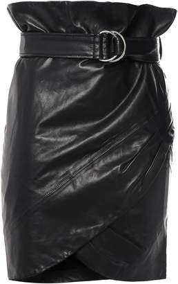 IRO Magma Belted Wrap-effect Leather Mini Skirt