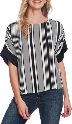 Vince Camuto Extended Shoulder Variegated Graphic Top