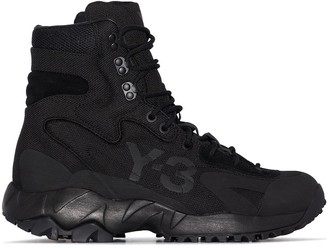 Y-3 Embossed Logo Lace-Up Boots