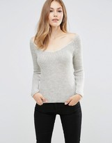 Asos Sweater With Off Shoulder In Rib