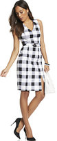 New York & Co. 7th Avenue - V-Neck Sheath Dress - Modern - Gingham Print