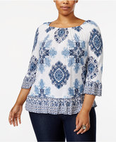 INC International Concepts Plus Size Medallion-Print Ruffled Top, Created for Macy's