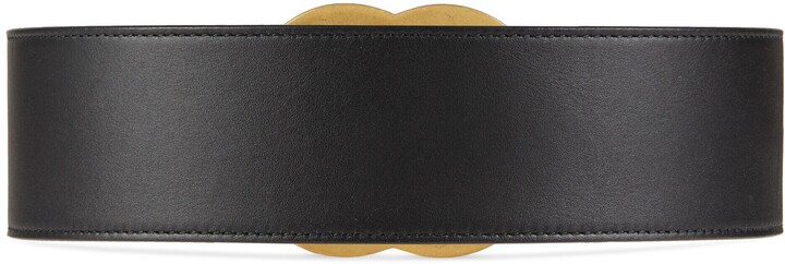 Thumbnail for your product : Gucci Leather belt with crystal Double G buckle