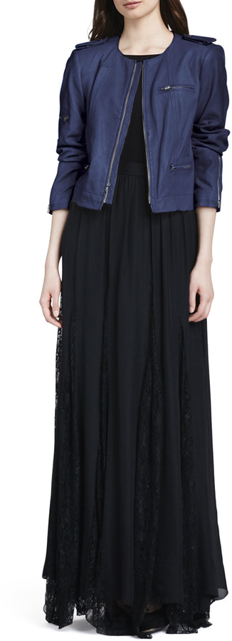 Alice + Olivia Louie Lace-Inset Maxi Skirt