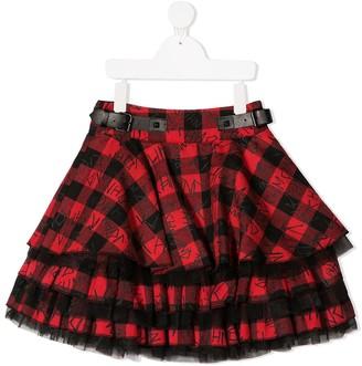 John Richmond Junior Layered Check-Print Skirt