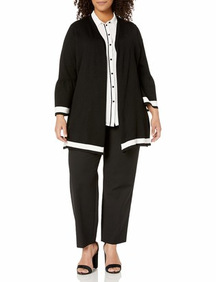 Calvin Klein Women's Plus Size Long Cardigan with Stripe Hem