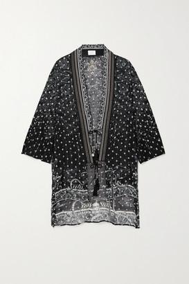 Camilla Crystal-embellished Fil Coupe Silk-blend Chiffon Kimono - Midnight blue