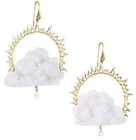Annette Ferdinandsen Women's 14K Yellow Gold, Blue Chalcedony Drusy & Diamond Rain Could Drop Earrings