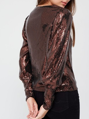 Very Sequin V Neck Blouson Top - Bronze