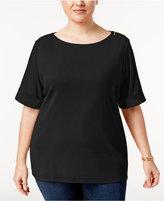 Karen Scott Plus Size Zip-Shoulder Elbow-Sleeve Top, Only at Macy's