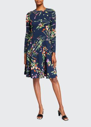 Lela Rose Tiered Long-Sleeve Dress