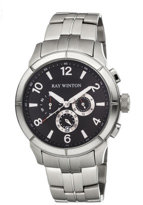 Ray Winton Men's Chronograph Black Dial Silver Stainless Steel Bracelet Watch