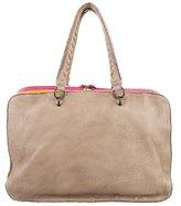 Bottega Veneta Intrecciato-Accented Handle Bag