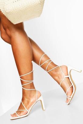 boohoo Wrap Up Strappy Flat Heels