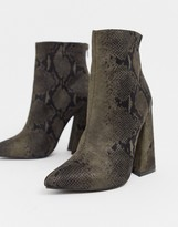 Co Wren pointed block heel ankle boots in snake