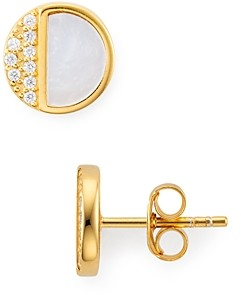 Argentovivo Circle Stud Earrings in 18K Gold-Plated Sterling Silver