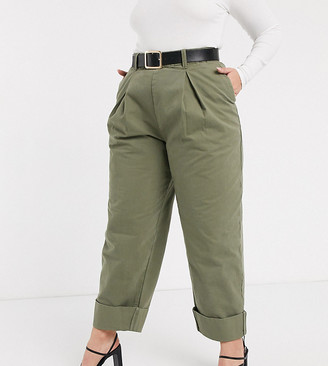 ASOS DESIGN Curve inverted pleat clean balloon leg pant with turn up