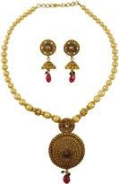 Matra Gold Tone Acrylic Stone Beautiful 2 Pcs Pendant Necklace Earrings Set Jewelry
