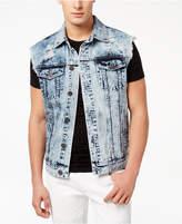 INC International Concepts I.n.c. Men's Acid Wash Cut-Off Denim Jacket, Created for Macy's