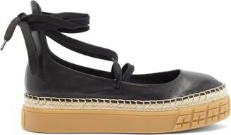 Prada Rubber-sole Leather Espadrilles - Black