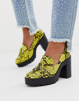 London Rebel chunky platform shoes in yellow snake
