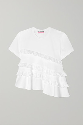 Comme des Garcons Asymmetric Ruffled Cotton-jersey T-shirt - White