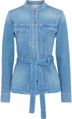 Frame Le Slender Belted Pleated Denim Jacket