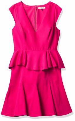 Halston Women's Cap Sleeve V Neck Dress with Peplum