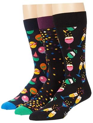 Happy Socks 3-Pack Celebration Socks Gift Set (Black/Multi) Men's Crew Cut Socks Shoes