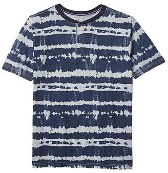 Lucky Brand Kids Tie-Dye Henley Tee (Big Kids) (Peacoat) Boy's Clothing