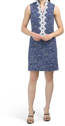 Printed Textured Bullet Knit Shift Dress