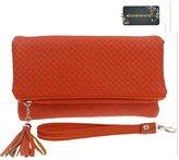 Donalworld Woen Tassel Zipper Triple Copartent PU Leather Clutch Bag