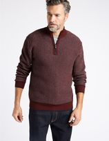 Marks and Spencer Cotton Blend Textured Half Zipped Jumper