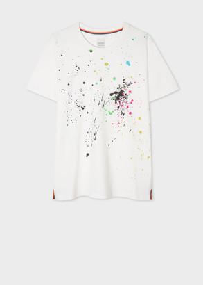 Paul Smith Women's White 'Paint Splatter' Print T-Shirt