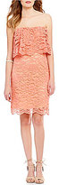 GB Strapless Scalloped Lace Popover Sheath Dress