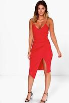boohoo Strappy Wrap Pleated Bodycon Midi Dress