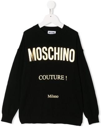 Moschino Kids metallic logo jumper