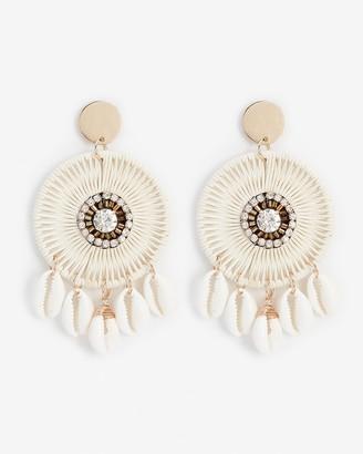 Express Woven Circle Puka Shell Earrings