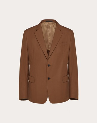 Valentino Double-breasted Cotton Jacket Man Brown 100% Cotone 44