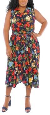 London Times Plus Size Floral-Print Faux-Wrap Dress