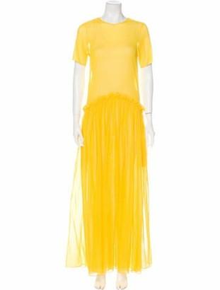 Rosie Assoulin Crew Neck Long Dress Yellow