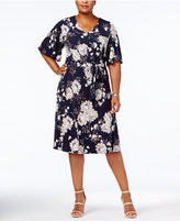 Charter Club Plus Size Floral-Print Belted Flutter-Sleeve Dress, Created for Macy's