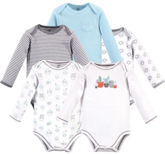 Touched by Nature Baby Girl Organic Long Sleeve Bodysuits, 5-Pack