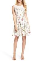 Gabby Skye Women's Floral Fit & Flare Dress