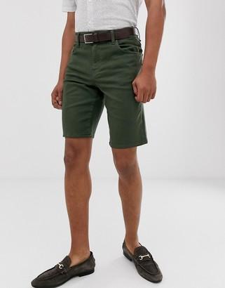 ASOS DESIGN slim denim shorts in green
