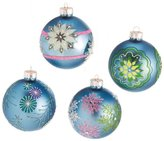"""Midwest Mid-West Set of 4 Dazzling Blue Snowflake Design Glass Ball Christmas Ornaments 3"""" (75mm)"""