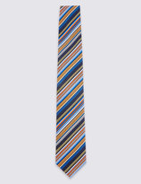 Marks And Spencer Pure Silk Royal Multi Striped Tie