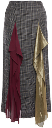 Roland Mouret Julius Draped Chiffon And Lame-paneled Checked Bamboo Midi Skirt